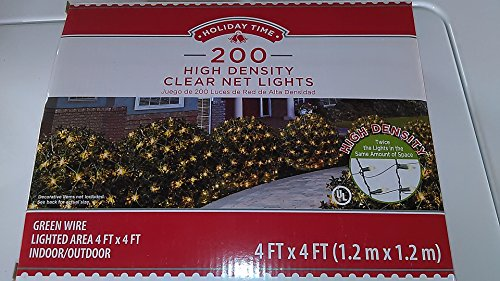 Holiday Time 200 High Density Clear Net Lights, Green Wire, 4 Ft X 4 Ft Lighted Area