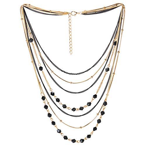 COOLSTEELANDBEYOND Oro Negro Statement Choker Cuello Collares Collar Cascada Multi Capas Cadena Piedras Bola Encantado con Colgantes