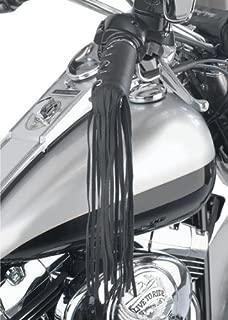 Black Solid Leather Motorcycle Grip Covers Throttle Handlebars Biker 12