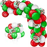 New Years Eve Balloons Arch Garland Kit 116 Pack, 12 Inch Red Green White Latex Balloons Confetti Balloons with Snowflake for New Year Party Decorations New Year Baby Shower Birthday Party Supplies