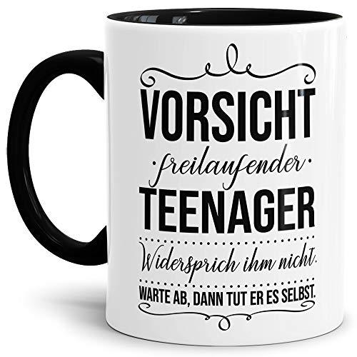 Tassendruck Geschenk-Tasse zur Jugendweihe Vorsicht freilaufender Teenager - Erwachsen/Kind/Feier/Innen & Henkel Schwarz