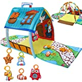 UNIH Baby Activity Gym Infants Fitness Little House Playmat with 5 Baby Toys for Tummy Time Newborn Baby Activity Center for Girls and Boys 0-12 Month