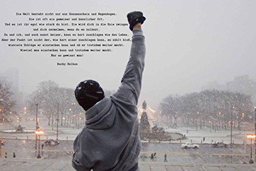 time4art Rocky Balboa Bild MIT Zitat Boxen Sport Print Canvas Bild auf Keilrahmen Leinwand Giclee