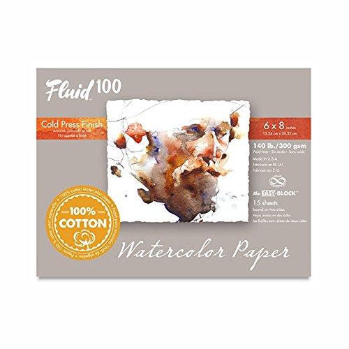 Fluid 100 Watercolor Paper 811208 140LB 100% Cotton Cold Press 6 x 8 Block, 15 Sheets