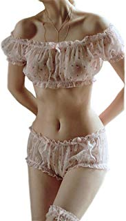 Womens Chiffon Lingerie 3PCS Sexy Floral Priting Pajamas Off Shoulder Lolita Transparent Underwear