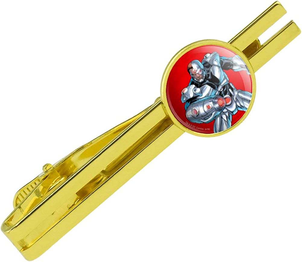 GRAPHICS & MORE Justice League Cyborg Character Round Tie Bar Clip Clasp Tack Gold Color Plated