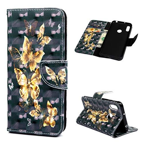 WaackGG Y6 Hülle Handyhülle Flipcase Kompatible mit Huawei Y6 2019 Tasche Handytasche Geldklammern Schutzhülle Magnet Kartenfach KFZ Anti-Fall Kunstleder Hardcover Gemalt Design Etui