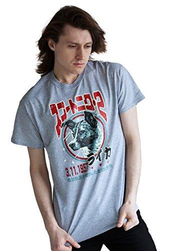 Laika The Space Dog T Shirt – japonais pour homme – soviétique/Japon Retro Kawaii d'écran – T-shirt imprimé – Gris - Gris - Medium