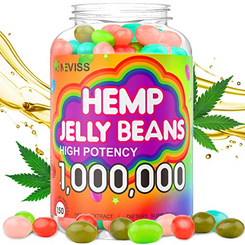 Hemp Jelly Beans for Sleep and Anxiety 1,000,000, Stress Relief, Relaxation, Calm & Mood Support - Organic Hemp Jelly Beans 150cts