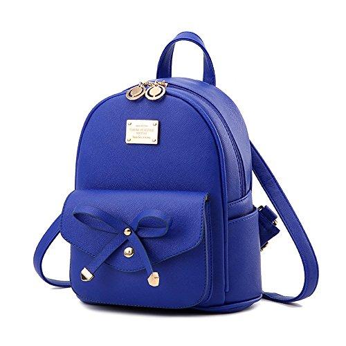 Girls Blue Mini Backpack Purse Leather Cute Bowknot Fashion Small Backpacks Purses for Teen Women