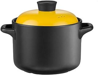 Olla de Sopa de cerámica, cazuela Redonda de 5 Cuartos de galón, Olla de estofado Saludable a Prueba de Calor, Olla de Barro, Olla de Caldo, 4.8 litros Adecuado para 4 a 8 Personas, para COC