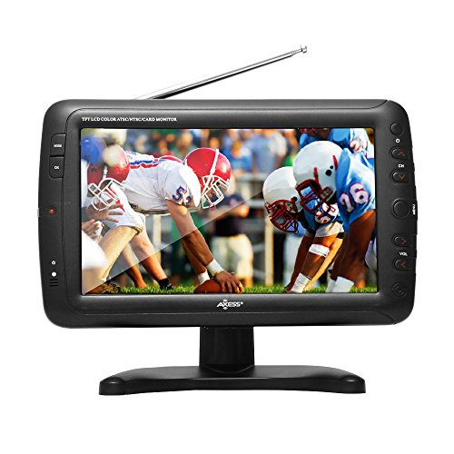 "Axess Portable TV 9"" Battery Powered Widescreen LCD Small TV TV1703-9 with ATSC Digital Tuner 2 Antennas, USB/SD Card & Headphone Inputs, AV Inputs & Full Func. Remote. Mini TV for Car, RV, Outdoor"