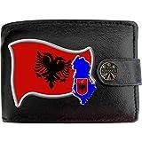 Albanie Drapeau Carte Armoiries Klassek Portefeuille Homme Vrai Cuir Noir RFID Blocage Poche à Monnaie avec Boîte en Métal