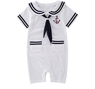 XM Nyan May s Baby Toddler Boys Sailor Stripe Romper Marine Navy Romper  Onesie Outfit 8e11d6d36