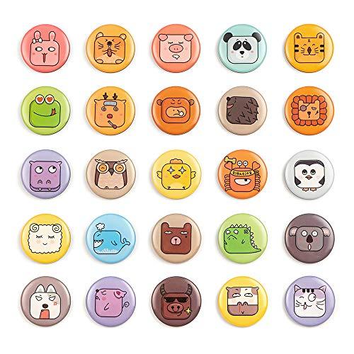 25 Kühlschrankmagnete Emoji, kleine lustige Magnete für Küche, Zuhause, Schule, Klassenzimmer, Whiteboard, niedliche Dekoration, von Morcart 25pcs-Animal Faces