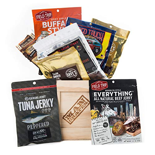 American Tour Jerky Crate by Man Crates – Includes Honey-Bourbon Brisket Jerky, Hawaiian Ahi Tuna Jerky, Cajun Beef Jerky and More – Great Gift for Men