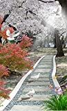 WFYY Papel Pintado Puerta Avenida Cherry Blossom Murales Y Vinilos Paisaje Natural 3D Murales De Pared Papel Pintado 95X215CM