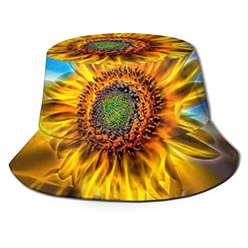 Sombrero de pescador 3D girasol neón luz plegable cubo sombrero de verano sombrero de sol para hombres y mujeres
