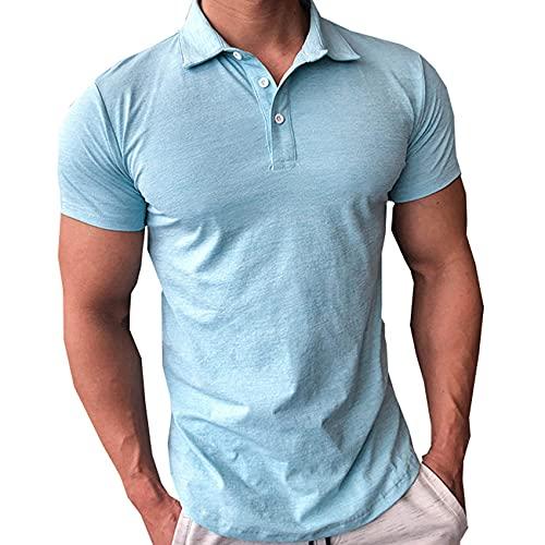 Polo de entrenamiento para hombre de secado rápido de baloncesto de manga corta para correr y correr, con cuello alto, para entrenamiento, gimnasio, camisetas, azul, XL