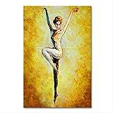 ZHUAIBA HY141267 (28) Vestido Blanco Hecho a Mano para niña y Fondo Amarillo, Lienzo para Pintar al óleo, para decoración de Pared de Pasillo de Hotel, 100 x 160 cm, sin Marco