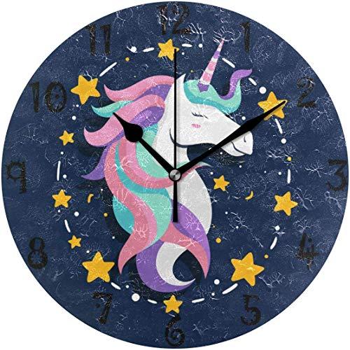 azalea store Reloj de Pared Circular Art Blue Star Unicornio Rosa Plano Redondo silencioso Reloj Antideslizante para Cocina Dormitorio Home Office Escuela Gorra niños niñas Relojes Decor