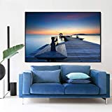 Decorazione Molto Bella della casa del Ponte del Salone di Legno Moderno del Manifesto di Arte di Vista del Mare,Pittura Senza Cornice,40X60cm