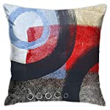 Antvinoler Modern Abstract Grey Stripes Blue Black Brown Bold Red Pillow Cover, Modern Gray Home Decorative Throw Pillows Covers Cushion Cover for Bedroom Sofa Living Room 18x18 in