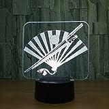 Couteau japonais et ventilateur 3D LED Lampe 7 Couleur Led Veilleuses pour enfants...
