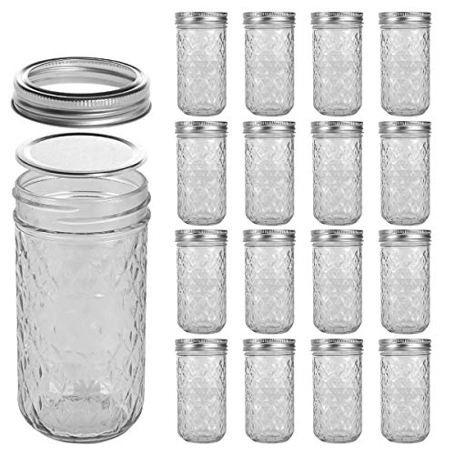small LEQEE Mason Jar 12oz Mini Mason Jar Silver Lid and plain jelly jar with ribbon …