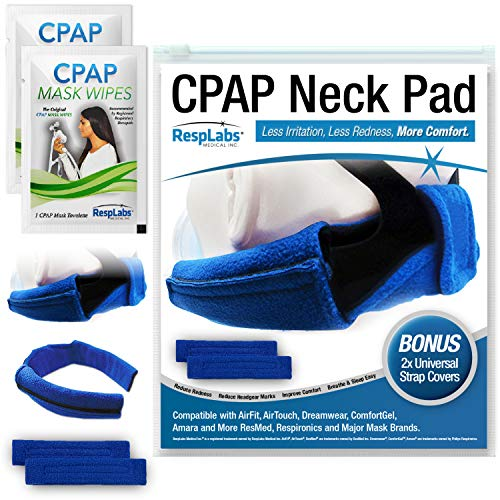 RespLabs CPAP Neck Pad - Reusable Comfort Fleece with 2 CPAP Strap Covers - Universal Fit. Includes 2 CPAP Travel Wipes and CPAP Comfort Hacks E-Book. (1 Pack)