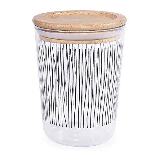 77L Tarro de Almacenamiento de Alimentos, 500 ML (16.9 FL OZ) Tarro de Almacenamiento de Vidrio Hermético con Tapa de Bambú, Recipiente de Almacenamiento de Alimentos para Café Molido,Té, Azúcar y Más
