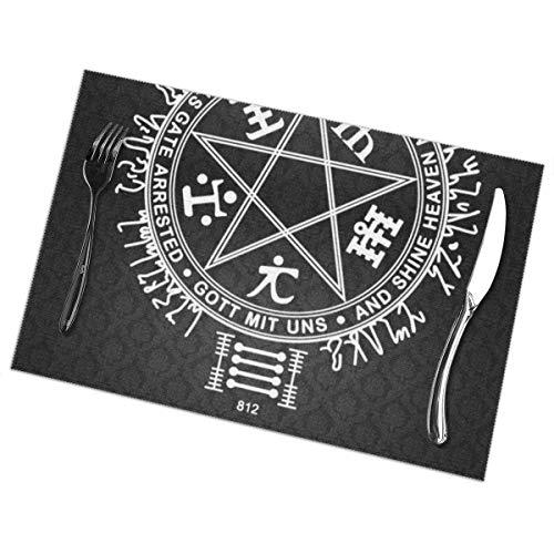 tyui7 Pentagrama del Infierno satánico satánico Manteles Individuales Lavables Resistentes al Calor para Cocina, Comedor, Mesa, Juego de 4 tapetes de 12 x 18 Pulgadas