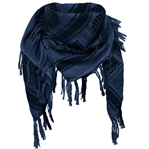 FREE SOLDIER 100% Baumwolle Shemagh Military Tactical Keffiyeh Desert Kopf Halstuch 110 x 110 cm Arab Wrap mit Quaste für Herren & Damen, Blau