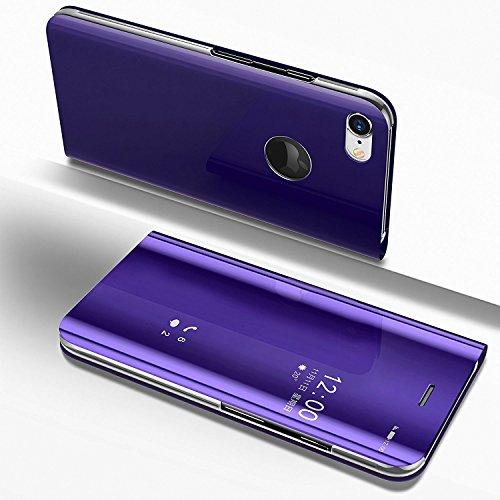 Etsue Coque Compatible avec iPhone 6 Plus/ 6S Plus Clear View Miroir Flip Case Cover Portefeuille PU Cuir + Miroir Complet Protecteur étui Support Coque à Rabat Magnétique Smart Case Coque Housse