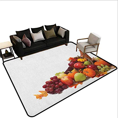 Area Rugs Harvest,Print,Fall Arrangement with Fruits of The Season in a Cornucopia Bountiful Harvest Corn,Large Carpet for Living Dining Dorm Playing Room Bedroom,Multicolor 2'x8'