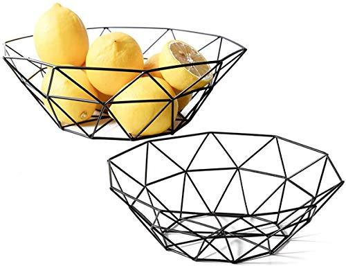 Lawei 2 Stück Obstschale Metall Korb Obstkorb Aufbewahrung für Obst Kuchen - Schwarz, 27 x 9,2 x 14,5 cm