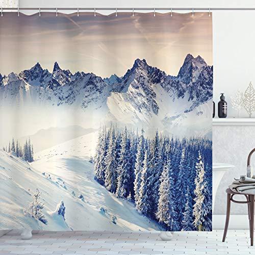 ABAKUHAUS Natur Duschvorhang, Schneebedeckte Winter-Ansicht, Wasser Blickdicht inkl.12 Ringe Langhaltig Bakterie & Schimmel Resistent, 175 x 200 cm, Blau-grau-weiß