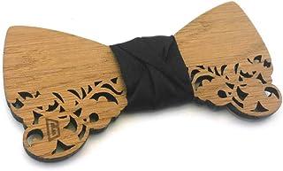 GIGETTO Papillon in legno Rovere Serie Barocco Nodo stoffa nero Made in Italy