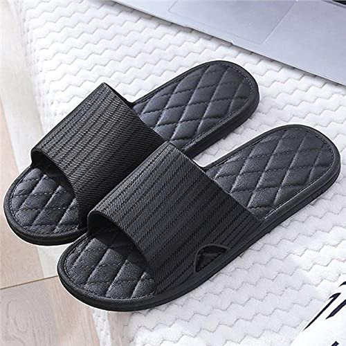 MDCGL Comodas Transpirable Pantuflas Zapatillas Unisex para Mujer Hombre, Antideslizantes, Ligeras, Planas, Sandalias,Chanclas Suaves para casa, Zapatos Negros EU41-42