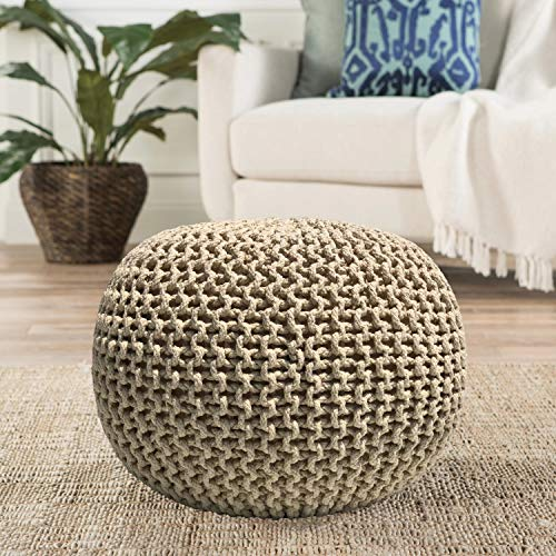Casa Platino - Hand Knitted Cable Style Dori Pouf – (Ivory) - Floor Ottoman - 100% Cotton Braid Cord - Handmade & Hand Stitched - Truly one of a Kind Seating - 20 Diameter x 14 Height