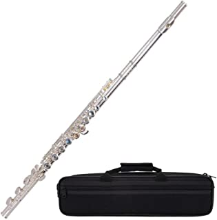 LVSSY-Flauta Agujero de 17 Orificios de Apertura y Cierre Instrumento de Flauta de Doble Uso C Prueba de Principiantes para Estudiantes chapados en Cobre Blanco Plateado Ajustable