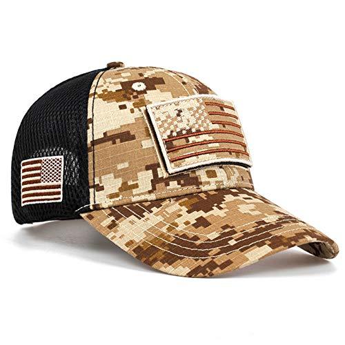 KUANGLANG Gorras de béisbol tácticas de Camuflaje Sombreros de Malla Militar de Verano para Hombres Gorras de béisbol diseñadas con la Bandera de Las Rayas de los Estados Unidos