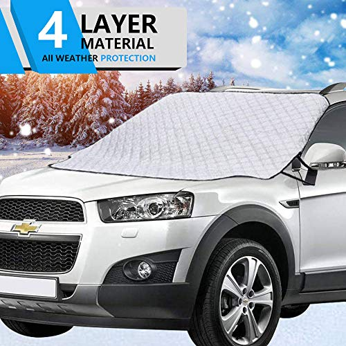 Hivernou Car Windshield Snow Cover, Windshield Cover for Ice and Snow with 4 Layers Protection,Snow,Ice,Sun,Frost,Dust Defense Thick&Extra Large Magnetic Windshield Snow Cover Fits Most Vehicles