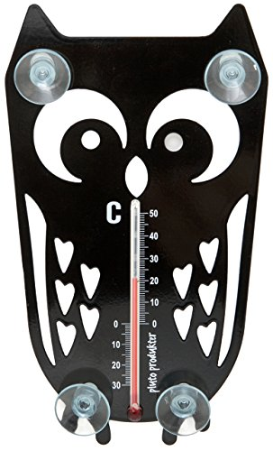 Pluto Produkter Sweden Fensterthermometer Eule für Innen & Außen, schwarz