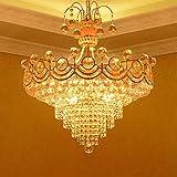 RUNNUP Glittering Crystal Cone Pendant Light European Style Chandelier in Gold Finish for Hotel Villa Restaurant Living Room Dining Room
