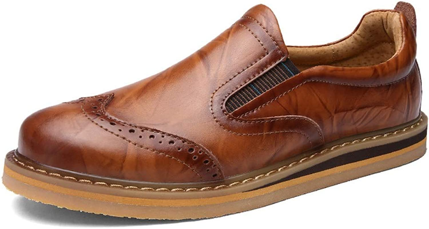 Men's Casual shoes Low to Help shoes Men's shoes Brock Carved Leather shoes Leather (color   Light Brown, Size   44)