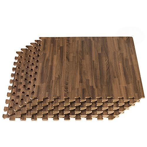 FOREST FLOOR 5/8 Inch Thick Printed Foam Tiles, Premium Wood Grain Interlocking Foam Floor Mats, Anti-Fatigue Flooring, Walnut, 24 Sq Ft