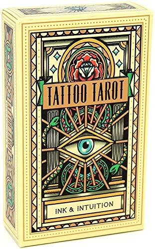 HEZHANG Tattoo Tarot English Full Version Tarot Deck Mit Eguide Buch Einstruction Kartenspiele Gibstoff Spiele Set Destiny Vorhersage Spielkarte