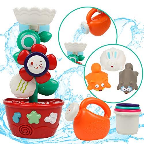 Badewannenspielzeug Badespielzeug Baby ab 1 2 3 Jahr-Wasserspielzeug mit Saugnapf und 4 Stapelbecher für Badewanne Tiere Babyspielzeug Geschenk für Kinder Junge Mädchen