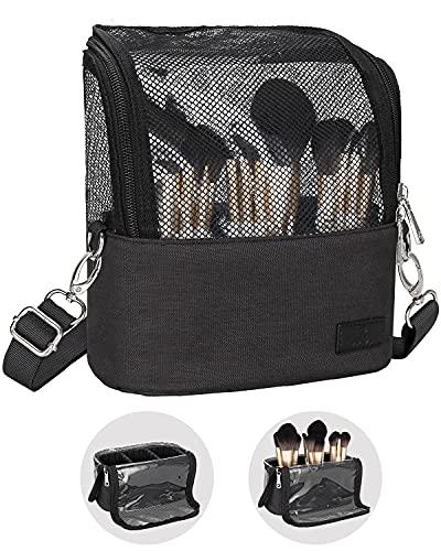 Makeup Brush Case,Makeup Brush Holder with Adjustable Dividers,Large Capacity Makeup Brush Bag with Shoulder Starp,Professional Makeup Artist Tool Storage Organizer